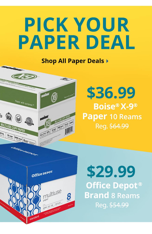 $36.99 Boise® X-9® Case & $29.99 Office Depot 8-Ream Case